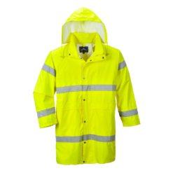 Płaszcz Wodoodporny Portwest H442 Ostrzegawczy kurtka ostrzegawcza lekka wiatrówka długi 100 cm płaszczyk przeciwdeszczowy mocny odblaskowy drogowy na deszcz lekki składany z kapturem żółty