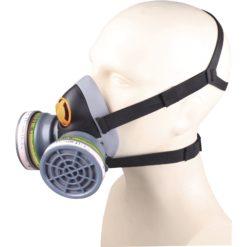 Półmaska Filtrująca Delta Plus M6400 CHEM KIT ABEK1 P3 maska wielorazowa plastikowa z tworzywa 3m delta regulowana ochrona dróg oddechowych do pracy robocza ochronna czarna szara na filtry sklep bhp odzież robocza ochronna środki ochrony na modelu z pochłaniaczami z filtrami