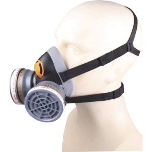 Półmaska Filtrująca Delta Plus M6400 SPRAY KIT A2 P3 maska wielorazowa plastikowa z tworzywa 3m delta regulowana ochrona dróg oddechowych do pracy robocza ochronna czarna szara na filtry sklep bhp odzież robocza ochronna środki ochrony na modelu z pochłaniaczami z filtrami