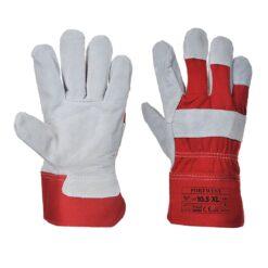 Rękawice robocze skórzane Portwest A220 skórkowe drelichowe wzmacniane doker do pracy dla pracowników bhp sklep system internetowy czerwone białe