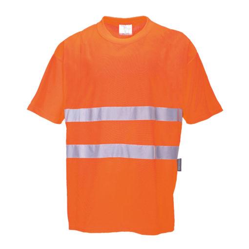 T-shirt Ostrzegawczy Portwest S172 Cotton Comfort koszulka na krótki rękaw odblaskowa drogowa podkoszulek z odblaskiem mocny bawełniany z taśmą odblaskową 20471 2 klasa odzież robocza ochronna ciuchy robocze sklep bhp pomarańczowa