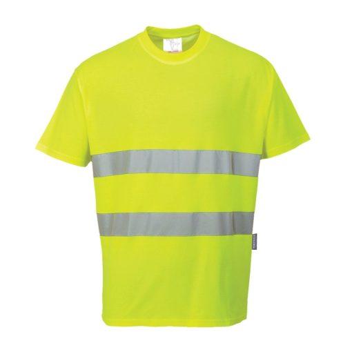 T-shirt Ostrzegawczy Portwest S172 Cotton Comfort koszulka na krótki rękaw odblaskowa drogowa podkoszulek z odblaskiem mocny bawełniany z taśmą odblaskową 20471 2 klasa odzież robocza ochronna ciuchy robocze sklep bhp żółta