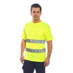 T-shirt Ostrzegawczy Portwest S172 Cotton Comfort koszulka na krótki rękaw odblaskowa drogowa podkoszulek z odblaskiem mocny bawełniany z taśmą odblaskową 20471 2 klasa odzież robocza ochronna ciuchy robocze sklep bhp żółta na modelu