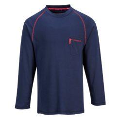 Bluza trudnopalna Portwest FR01 BIZFLAME dla spawaczy spawalnicza ognioodporna łuk elektryczny bluzka długi rękaw odzież ochronna robocza sklep bhp granatowa przód