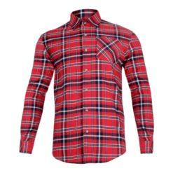 Koszula Robocza Flanelowa Lahti PRO L41803 koszula do pracy robocza kufajka bawełniana przewiewna z kołnierzykiem na guziki odzież robocza ochronna sklep bhp ciuchy robocze czerwona granatowa przód