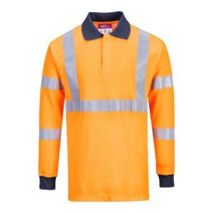 Koszulka Ostrzegawcza Trudnopalna Portwest FR76 polówka spawalnicza trudnopalna dla spawacza mocna odblaskowa z pasami dla drogowców na długi rękaw odzież ochronna robocza sklep bhp pomarańczowa granatowa przód