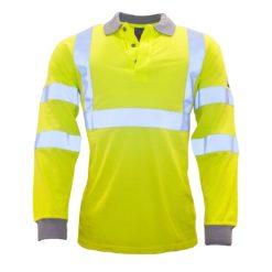 Koszulka Polo Ostrzegawcza Trudnopalna Portwest FR77 spawalnicza dla spawacza koszulka z długim rękawkiem ognioodporna niepalna drogowa dla drogowców odzież robocza ochronna żółta sklep bhp