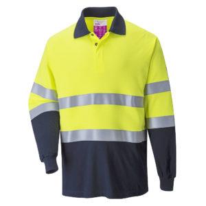 Koszulka Polo Ostrzegawcza Trudnopalna Portwest FR74 na długi rękaw dwukolorowa z kołnierzykiem pasy odblaskowe spawalnicza dla spawacza antryelektrostatyczna odzież ochronna robocza sklep bhp żółta granatowa