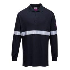 Koszulka Polo Trudnopalna Portwest FR03 długi rękaw dla spawaczy do prac spawalniczych ognioodporna antystatyczna ochronna granatowa z pasem odblaskowym odzież ochronna robocza sklep bhp przód