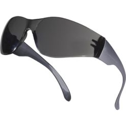 Okulary Ochronne Delta Plus BRAVA2 smoke Przyciemniane przydymione okulary do pracy robocze ochronne przeciwodpryskowe przezroczyste poliwęglan jednoczęsciowe 1 ft f