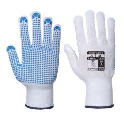 Rękawice nakrapiane Porwest A110 Polka nakrapiane robocze ochronne rękawiczki powlekane PVC pcv mocne dzianinowe materiałowe antypoślizgowe z mankietem sklep bhp odzież robocza ochronna biale niebieskie