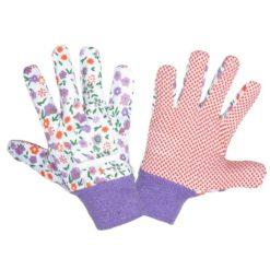 Rękawice Ochronne Damskie Lahti PRO L2405 Nakrapiane PVC rękawiczki robocze do pracy ochronne wampirki ogrodnicze dla kobiet damskie mocne nakrapiane w kwiaty fioletowe białe sklep bhp odzież robocza