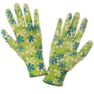 Rękawice Ochronne Damskie Lahti PRO L2204 rękawiczki robocze ochronne do pracy ogrodnicze damskie dla kobiet w kwiaty zielone wampirki powlekane nitrylem para