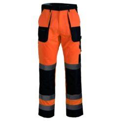 Spodnie ostrzegawcze Brixton Flash Pomarańczowo-Granatowe robocze ochronne do pracy ciuchy robocze z odblaskami z pasami do pasa w pas z kieszeniami na nakolanniki pomarańczowe granatowe odzież robocza ochronna dla drogowców sklep bhp z przodu