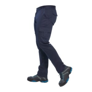 Spodnie Bojówki Portwest S231 Slim Stretch spodnie do pasa robocze ochronne z kieszeniami cargo granatowe slimowane zwężana nogawka dopasowane odzież robocza sklep bhp bok