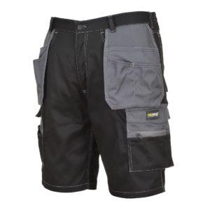 Spodnie robocze Szorty Portwest KS18 Granite Krótkie do pracy ochronne ciuchy robocze czarne szare wytrzymałe do kolan spodenki dużo kieszeni sklep bhp odzież robocza ochronna z boku