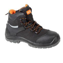 Trzewiki ochronne Lahti PRO L30118 S3 SRA obuwie robocze bezpieczne ochronne do pracy buty wysokie za kostkę z odblaskiem z podnoskiem z blachą kompozytowym wkładka antyprzebiciowe polimerowa czarne pomarańczowe sznurowane