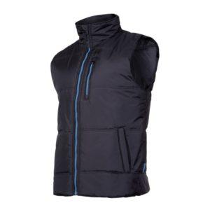 Bezrękawnik Ocieplany LAHTI PRO L41308 kamizelka robocza do pracy ciepła ciuchy ochronne robocze odzież pracownicza waciak czarny niebieski błękitny bok