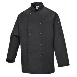 Bluza szefa kuchni Portwest Suffolk C833 czarna dla kucharza kucharska kuchenna gastronomiczna czarna elegancka dwurzędowa na napy restauracyjna ze stójką długi rękaw odzież robocza ochronna sklep bhp