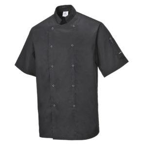 Bluza szefa kuchni Portwest Cumbria C733 Czarna kucharska do kuchni czarna na napy dwurzędowa z kołnierzykiem kuchenna czarna na napy z krótkim rękawem rękawkiem odzież ochronna robocza sklep bhp