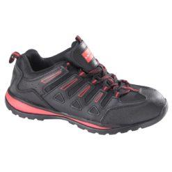 Półbuty Ochronne LAHTI PRO L30402 SB buty robocze do pracy bezpieczne z blachą z podnoskiem skórzane skórkowe czarne czerwone adidasy wygodne bok