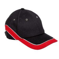 Czapka z daszkiem Lahti PRO L10103 Czarno-Czerwona bejsbolówka 6 panelowa czapeczka z daszkiem ochronna robocza do pracy czarno czerwona przód