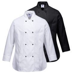 Damska Bluza Kucharska Portwest C837 Rachel bluza szefa kuchni gastronomiczna dla kucharza do gastronomii damska taliowana na guziki ze stójką do gotowania odzież ochronna sklep bhp biała czarna
