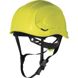 Hełm Ochronny DELTA PLUS GRANITE PEAK alpinistyczny do pracy na wysokości ochronny kask wysokościowy z paskiem podbródkowym wentylowany panoply z pokrętłem bez daszka górski żółty sklep bhp