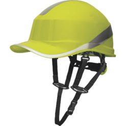 Hełm Ochronny DELTA PLUS BASEBALL DIAMOND V UP kas ochronny do pracy na wysokości wysokościówka z paskiem podbródkowym z daszkiem sklep bhp zolty