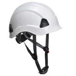 Hełm do pracy na wysokości PORTWEST PS53 kask do pracy budowlany wysokościówka praca na dachu z paskiem podbródkowym bez daszka środki ochrony sklep bhp biały
