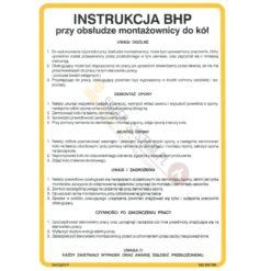 Instrukcja BHP przy Obsłudze Montażownicy do Kół zmiana opon warsztatowy dla samochodów instrukcja bezpieczeństwa warsztat samochodowy biała żółta tablica na ścianę twarda techem
