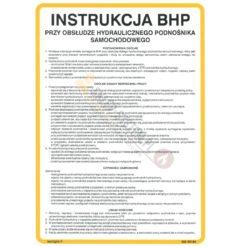 Instrukcja BHP przy obsłudze hydraulicznego podnośnika samochodowego podnośnik warsztatowy dla samochodów instrukcja bezpieczeństwa warsztat samochodowy biała żółta tablica na ścianę twarda techem