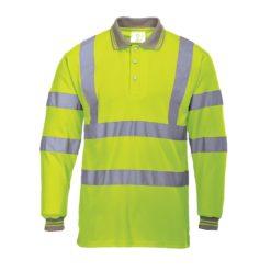 Koszulka Ostrzegawcza Polo PORTWEST S277 z Długimi Rękawami podkoszulek z kołnierzykiem z oblaskami z pasami odblaskowymi odzież drogowa do pracy ciuchy robocze ochronna sklep bhp żółta