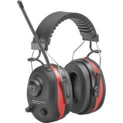 Elektroniczne ochronniki słuchu DELTA PLUS PIT-RADIO 3 nauszniki przeciwhałasowe z radiem na paluszki z wejściem aux bhp ochrona słuchu na pałąku sklep bhp czarno - czerwone
