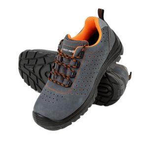 Półbuty ochronne Lahti PRO L30416 ochronne buty robocze do pracy bezpieczne bhp zamszowe skórkowe skórzane perforowane szare pomarańczowe antypoślizgowe z dziurami