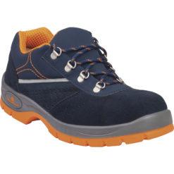 Półbuty Ochronne DELTA PLUS RIMINI III S1P SRC rimini 3 obuwie bhp robocze buty bezpieczne do pracy perforowane skórzane zamszowe welurowe panoply z blachą z wkładką antyprzebiciową z noskiem podnoskiem sklep bhp granatowe pomarańczowe