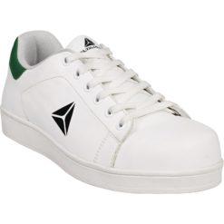 Półbuty robocze DELTA PLUS SMASH Białe S1P SRC trampki adidasy robocze do pracy ochronne bezpieczne z podnoskiem kompozytową bez metalu antyprzebiciowe wkładka białe zielone panoply sznurowane antypoślizgowe sklep bhp