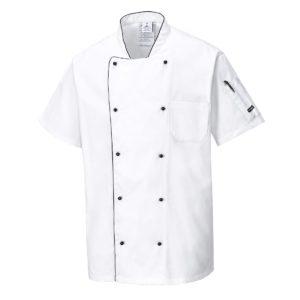 Przewiewna bluza kucharska Portwest C676 szefa kuchni bluza koszulka z krótkim rękawem na guziki z lamówką czarną ze stójką gastronomiczna do kuchni kuchenna z kieszeniami wentylowana na plecach odzież ochronna sklep bhp biała