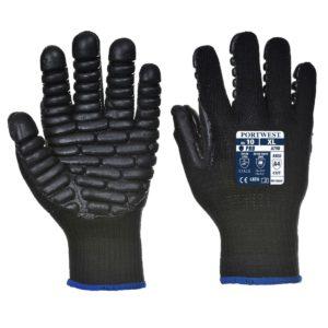 Robocze rękawice antywibracyjne PORTWEST A790 ochronne drgania czarne dzianinowe do pracy do zagęszczarki młota pneumatycznego czarne z poduszkami gumowymi