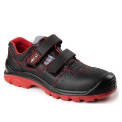 Sandały Ochronne RED MAX-POPULAR S1 s1p o1 01 SRC buty robocze ochronne bezpieczne obuwie bhp do pracy na rzep z podnoskiem z blachą czarne czerwone skórzane skórkowe sklep bhp bok