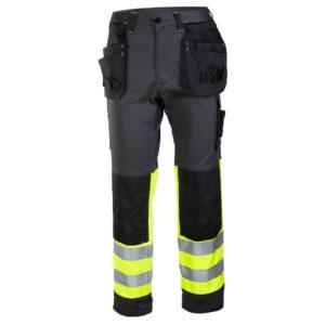 Spodnie Ostrzegawcze Seven Kings FLASH spodnie w pas do pasa robocze ochronne odzież bhp z odblaskami drogowe czarno żółte do połowy z kieszeniami kaburowymi sklep bhp czarne żółte grafitowe przód