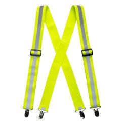 Szelki do spodni ostrzegawcze PORTWEST HV56 z metalowymi zaczepami z odblaskami z pasami odblaskowymi do pracy ochronne dla drogowców żółte srebrne