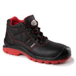 Trzewiki Ochronne RED MAX-POPULAR S3 s1 o1 01 SRC za kostkę buty wysokie do pracy robocze ochronne bezpieczne z podnoskiem blachą wkładką antyprzebiciowe skórzane skórkowe sklep bhp czarne czerwone trapery bok