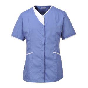 Nowoczesna Tunika Damska Portwest LW13 3 kolory medyczna do pracy robocza ochronna dla pielęgniarki lekarska na suwak na zamek błyskawiczny slimowana niebieska
