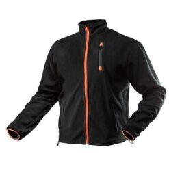 Bluza robocza polar NEO TOOLS 81-500 ciepła ochronna do pracy wygodna lekka na suwak ze ściągaczami ze stójką tania wytrzymała odzież robocza bhp sklep system internetowy czarna z pomarańczowym