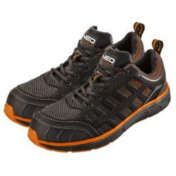 Półbuty robocze NEO TOOLS 82-09 S1 buty ochronne do pracy bezpieczne trampki adidasy siateczkowe czarne pomarańczowe neo mocne z noskiem z podnoskiem stalowym z blachą sklep bhp