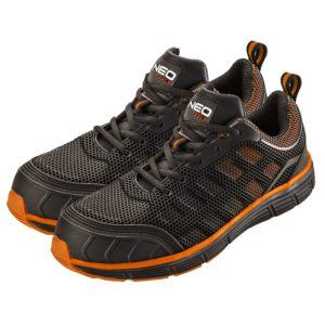 Półbuty robocze NEO TOOLS 82-090 S1 buty ochronne do pracy bezpieczne trampki adidasy siateczkowe czarne pomarańczowe neo mocne z noskiem z podnoskiem stalowym z blachą sklep bhp
