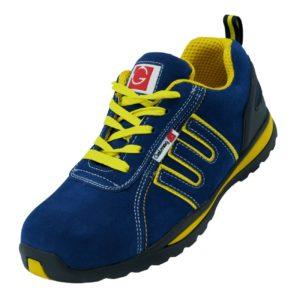 buty robocze GALMAG 564 S1 SRC z podnoskiem blachą bezpieczne ochronne do pracy bhp skórzane skórkowe antypoślizgowe adidasy sklep bhp niebieskie żółte