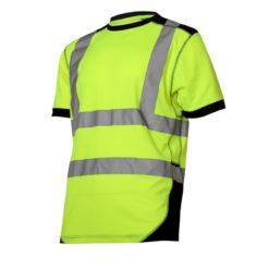 Koszulka Ostrzegawcza Lahti PRO L40225 Żółto-Czarna t-shirt tshirt koszulka na krótki rękaw podkoszulek odblaskowa z pasami odblaskowymi do pracy drogowa elegancka mocna sklep bhp neonowa żółto czarna
