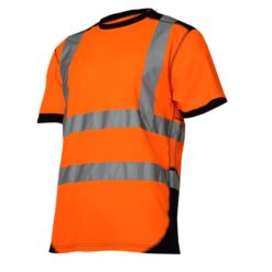 Koszulka Ostrzegawcza Lahti PRO L40226 Pomarańczowo-Czarna t-shirt tshirt koszulka na krótki rękaw podkoszulek odblaskowa z pasami odblaskowymi do pracy drogowa elegancka mocna sklep bhp neonowa pomarańczowa czarna